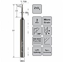 VHM-Zirkonoxid dentalfräs